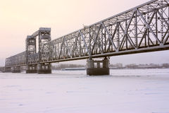Thе bridge. Arkhangelsk, look at the railway bridge across the Northern Dvina Royalty Free Stock Photo