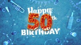 50th cartão de aniversário feliz com detalhes bonitos ilustração royalty free