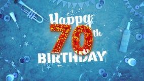 70th cartão de aniversário feliz com detalhes bonitos ilustração do vetor