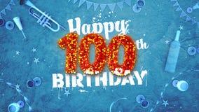 100th cartão de aniversário feliz com detalhes bonitos ilustração stock