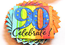 90th Celebrate Napkins royalty free stock photo