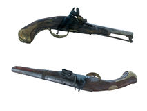 18th Century antique flintlock pistols isolated over white Stock Photos