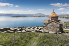 The 9th century Armenian monastery of Sevanavank at lake Sevan. Stock Photo