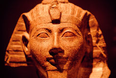 15th century BC stone sculpture of pharaoh saved in Egyptian Museum Stock Photos