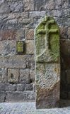 13th Century Boundary Post, Ypres, Belgium. Only surviving medieval stone boundary marker for Ypres city limits Royalty Free Stock Photo