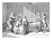 18th century, breast feeding. XVIII century, family life in Prussian upper class homes: baby with wet nurse Stock Illustration