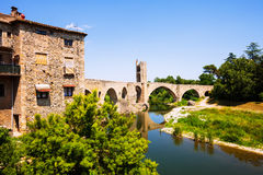 12th-century  bridge over Fluvia river in Besalu Royalty Free Stock Photo