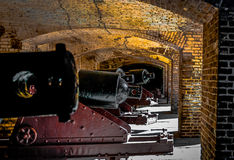 19th Century Cannon Line. Fort Sumter National Monument incorporates several sites around Charleston Harbor, which tell the unique stories of the people and Royalty Free Stock Photo