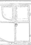 18th century carriage detail outline. Outlined side view on single 18th century carriage with door Royalty Free Stock Photos
