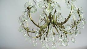 19th century chandelier rocking a bit stock video