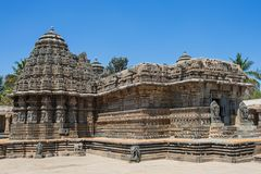 Temple plinth carvings in Karnataka, India. The 13th century Channakeshava, or Hoysalakesava, temple at Somnathpur in Karnataka, India. It is built of soapstone royalty free stock images