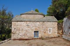 Agios Kosmas, Alonissos island. The 15th century chapel of Agios Kosmas at Agii Anargiroi on the Greek island of Alonissos stock photo