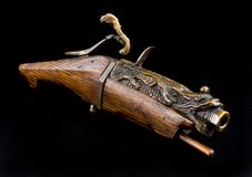 Antique Chinese Matchlock Pistol. stock photos