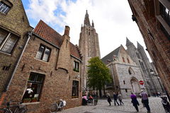 13th century Church of our Lady with its 122m tall tower in Bruges Royalty Free Stock Photography