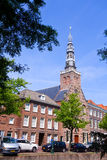 16th century church. Roman Catholic Sint-Lodewijkskerk, named after Saint Louis, build and first used in the 16th century, along a canal in the old university royalty free stock image
