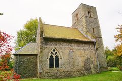 11th Century Church. St Mary's church at Houghton-on-the-hill in Norfolk.  The church dates from the 11th century. It has been restored over the last 25 years Royalty Free Stock Images