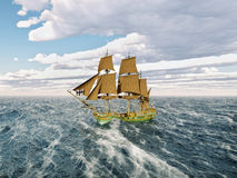 18th Century Corvette. Computer generated 3D illustration with a 18th century corvette in the stormy ocean Stock Photo