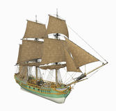 18th century corvette ship. Computer generated 3D illustration with a 18th century corvette ship isolated on white background Stock Photos