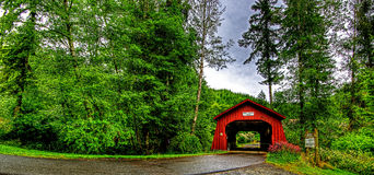 20th Century covered bridge in Western Oregon HDR Stock Photo