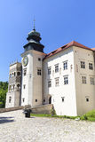 14th century defense Castle Pieskowa Skala , fortified entrance, near Krakow, Poland. Located in Ojcowski National Park, is one of the best-known examples of a Stock Photography