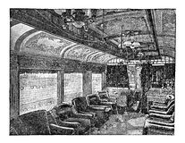 19th century engraving: luxury train wagon interiors Royalty Free Stock Images