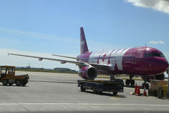 Wow Air aircraft on tarmac at Keflavik International Airport Stock Photography