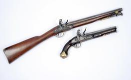 19th century flintlock cavalry carbine and pistol royalty free stock photography