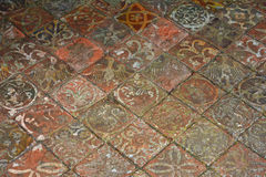 13th Century Floor Tiles, Summer House, Mottisfont Abbey, Hampshire, England Stock Images