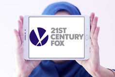 21th century fox logo. Logo of the american 21th century fox on samsung tablet holded by arab muslim woman Royalty Free Stock Photos