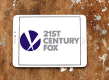 21th century fox logo. Logo of the american 21th century fox on samsung tablet on wooden background Royalty Free Stock Photography