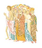 12th-century fresco on the wall of the Dmitrievsky Cathedral in Vladimir. Public domain. From the book: materials on the history of Russian garments and vector illustration