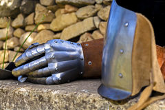 15th century gauntlet at reenactment Royalty Free Stock Images