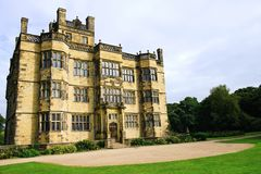 17th century Gawthorpe Hall. Gawthorpe Hall is a 17th century Elizabethan country house on the banks of the River Calder, in the civil parish of Ightenhill in royalty free stock photography