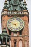 14th century Gdansk Main Town Hall on Royal Route, Gdansk, Poland. 14th century Gdansk Main Town Hall on Royal Route, tower clock, Gdansk, Poland Royalty Free Stock Image