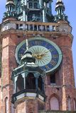 14th century Gdansk Main Town Hall on Royal Route, tower clock, Gdansk, Poland.  stock photography