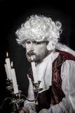 19th century, gentleman rococo era wig. Gentleman rococo era wig, man dressed in vintage Royalty Free Stock Image