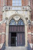 Collegiate Church of the Holy Cross and St. Bartholomew,an entrance gate, Wroclaw, Poland. 13th century Gothic Collegiate Church of the Holy Cross and St Stock Photos
