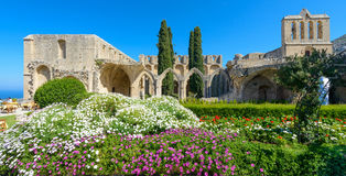 13th century Gothic monastery at Bellapais,northern cyprus 3. 13th century Gothic monastery at Bellapais on the northern slopes of the Pentadaktylos Mountains in stock photography