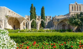 13th century Gothic monastery at Bellapais,northern cyprus 4. 13th century Gothic monastery at Bellapais on the northern slopes of the Pentadaktylos Mountains in stock photo