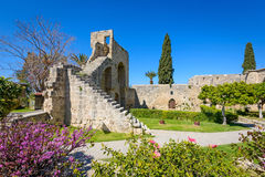 13th century Gothic monastery at Bellapais,northern cyprus 6. 13th century Gothic monastery at Bellapais on the northern slopes of the Pentadaktylos Mountains in stock images