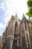 12th century gothic style Southwark Cathedral, London, United Kingdom. Church lies on the south bank of the River Thames close to London Bridge stock photography