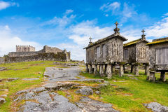 18th Century Granaries and Castle in Lindoso Portugal royalty free stock photos