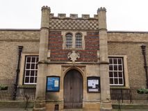 The Guildhall, Bury St Edmunds. 15th Century Guildhall with a porch studded with flints stock photos