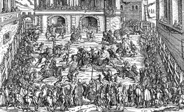 16th century, High Middle Ages tournament. XVI century, tourney representation: knightly competition or mock fight in the Middle Ages and Renaissance royalty free illustration