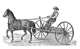 19th century illustration:cart horse and rake carriage. Antique illustration, agriculture: horse carting a rake carriage stock illustration
