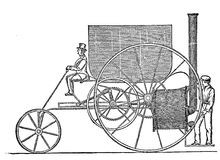 19th century illustration: Trevithick locomotive invented in 180 Royalty Free Stock Images