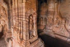 7th century Jainists Cave Temple dedicated to the Lord Mahavira, in town Badami, India Stock Photo