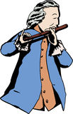 18th century man playing flute. Illustration of single man in 18th century clothing and wig playing a flute Stock Illustration