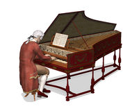18th Century Man Playing Harpsichord. A man wearing 18th Century attire is playing the harpsichord - 3d render Vector Illustration