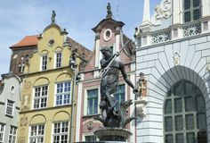 Gdansk Neptune Fountain Royalty Free Stock Photography